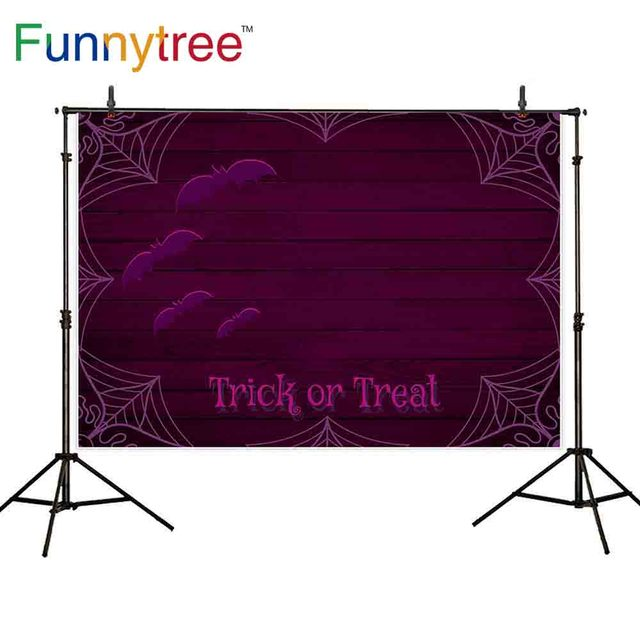 Funnytree Photography Backdrops Dack Purple Spider Cobweb Bat Wooden Wall Trick Or Treat Photo Background