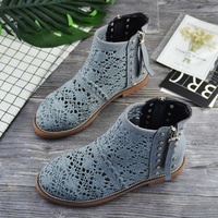 Women Shoes Hollow Ankle Boots Summer Lace Short Boots Women Zipper Breathable Ankle Boots Botas Mujer Zapatos De Mujer