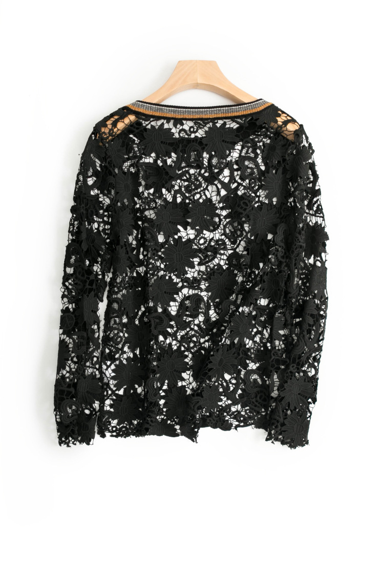 In early spring the new women s clothing Pure color lace hollow out long sleeve blouse