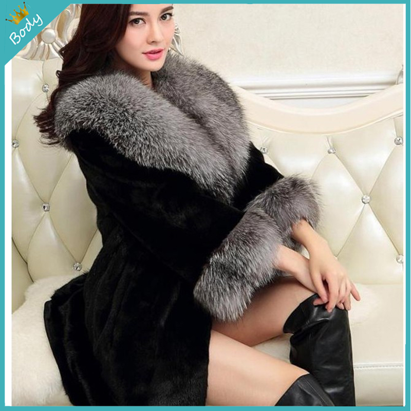 New Fashion Elegant font b Women b font Luxury Winter Fur Coat High Grade Faux Fox