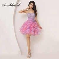 カラフルなフリルミニ卒業ドレスふくらんドレスビーズ弓かわいいクリスタルスウィートハートボールドレスパーティードレスオーガンザ SD131