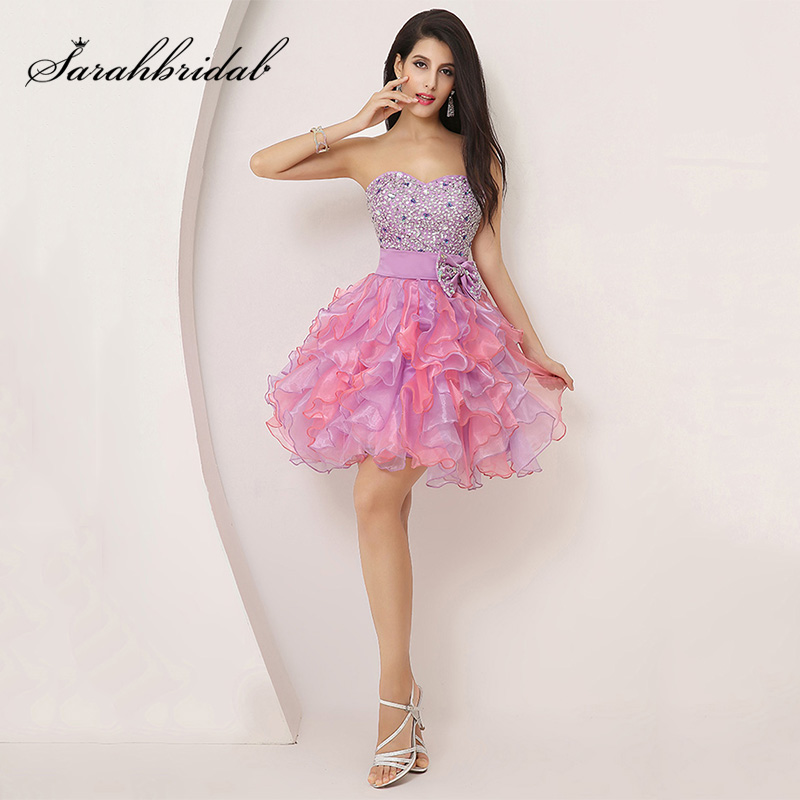 Colorful Luxury Ruffles Mini Graduation Dresses Beading Bow 2015 Cute Crystal Sweetheart Ball Gown Party Organza SD131