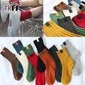 (6 Пар/лот) Высокого качества для Женщин Носки Зимние Тепловые Теплые Дамы Случайные Сплошной Полосой Носки Женские 10 Цветов Хлопка женские Носки