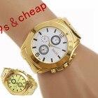 Men watch luxury brand Alloy Sport Wristwatch Hour Gold Bracelet Big Dial Quartz watches for men reloj de los hombres# 180717