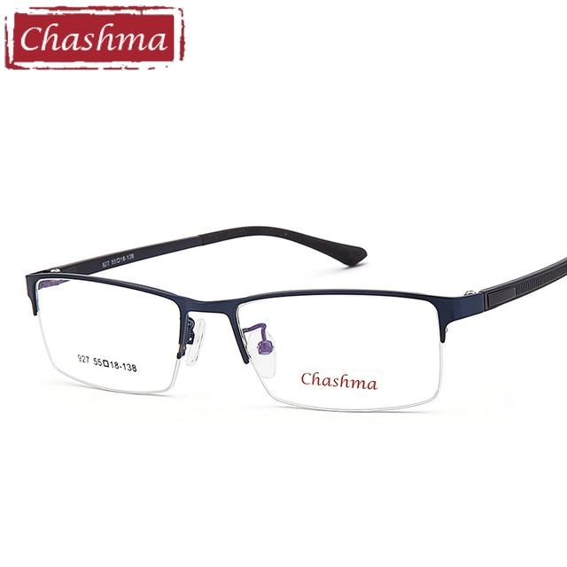 9c36bf5cc20e9 Chashma Marca Homens Moda TR 90 óculos Meia Armação de Óculos de Armação de  Liga de