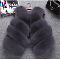 Hot Sale Real Fox Fur Vest Luxury Brand Women Outwear Coat Jacket Natural Silver Fur Vests  Genuine Spell Fox Fur Gilet BF-V0121