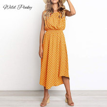 WildPinky O-neck Tank Polka Dot Dress Women Sexy Summer Midi 2019 Bohemian Casual Beach Ladies Sundress Vestidos