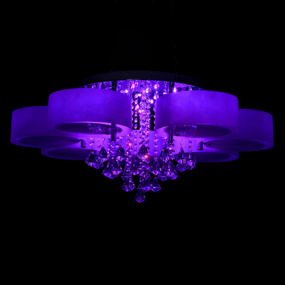 Ecolight Rgb Modern Chandelier Crystal With Remote Control 7 Lights Led Chandeliers Light For Bed Living Room 220 240 Volt In Ceiling From