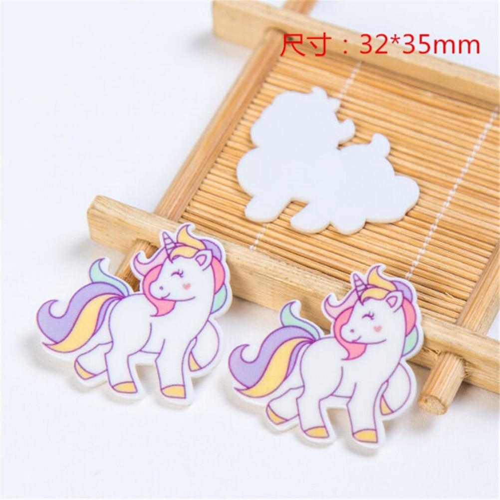 5PCS 3.2*3.5cm Kawaii Unicorn Resin Flat Back Cabochon For Phone Decoration,Simulation Food, DIY