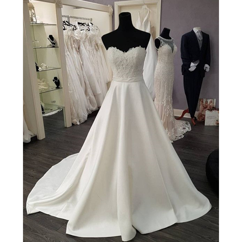 New 2019 Wedding Dresses Strapless A Line Lace Satin High