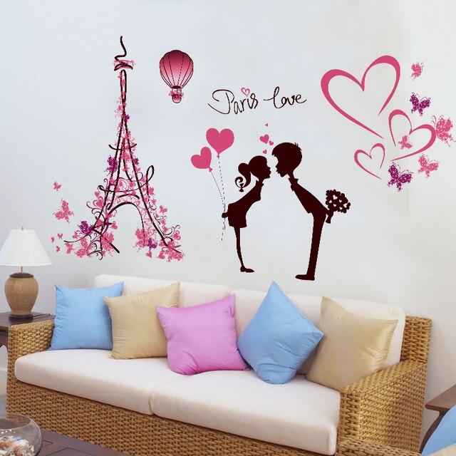 Bien connu Tour Eiffel autocollants amour ballon garçon et fille couple amour  AG02