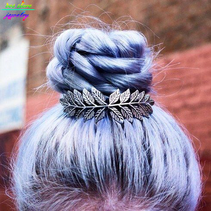 Unique Vintage Gold / Silver Plated Leaves Bun Top Hair Comb Accesorios para el cabello Boda Vintage Bijoux