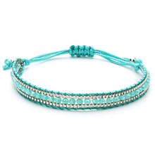Bling Mixed Crystal Beads Single Leather Wrap Bracelet Vintage Button Beaded Cuff Women Boho Dropship