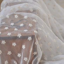 Wholesale Ivory Embroidered Bridal Lace Fabric Dot Gauze Wedding Gown Fabric