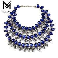 MYDANER Hot Sale Women Crystal Choker Gem Beads Boho Collier Femme Multilayer Statement Pendant Collar Maxi Necklace for Women