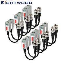 Eightwod 6 пар Мини HD CCTV витой видео балун пропускания трансиверный кабель с BNC разъемом для камеры cb радио разъем