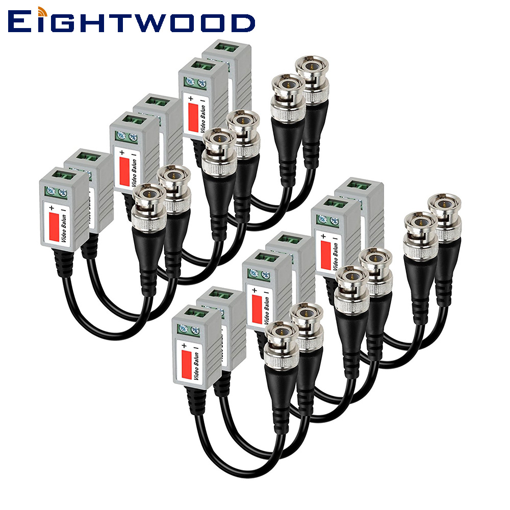 Eightwood 6 PAIRS Mini HD CCTV Twisted Video Balun Transmiter and Transceiver Cable With BNC Connector for Comera cb Radio