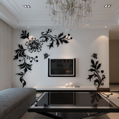 check out 78114 6ea9d Phalaenopsis Crystal Acrylic wall stickers TV background Living room  bedroom sofa furniture vine wedding decoration gift
