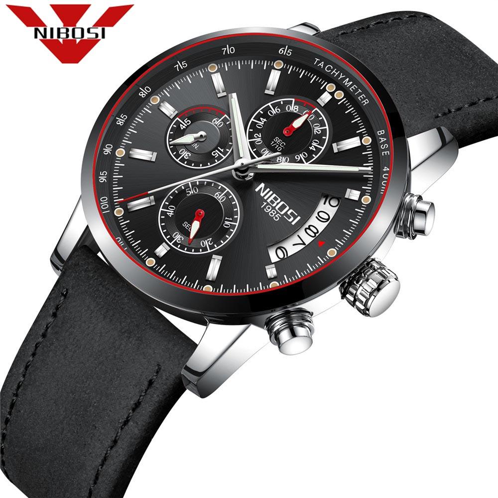 NIBOSI Original Watch Men Top Brand Luxury Leather Clock Watches Relogio Masculino Horloges Mannen Erkek Saat