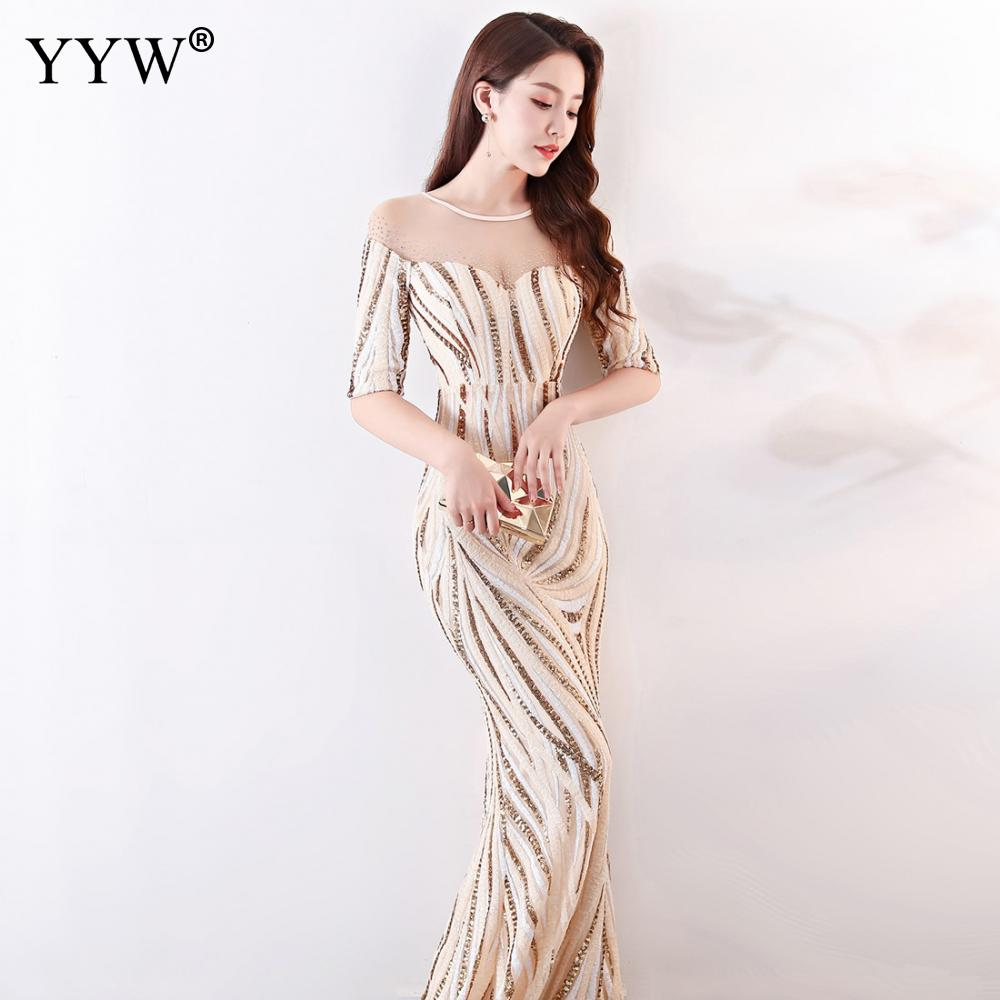 Image 4 - Crystal O Neck Striped Sequined Mermaid Long Dresses Elegant Half  Sleeve Illusion Backless Party Formal Gowns Ladies Maxi DressEvening  Dresses