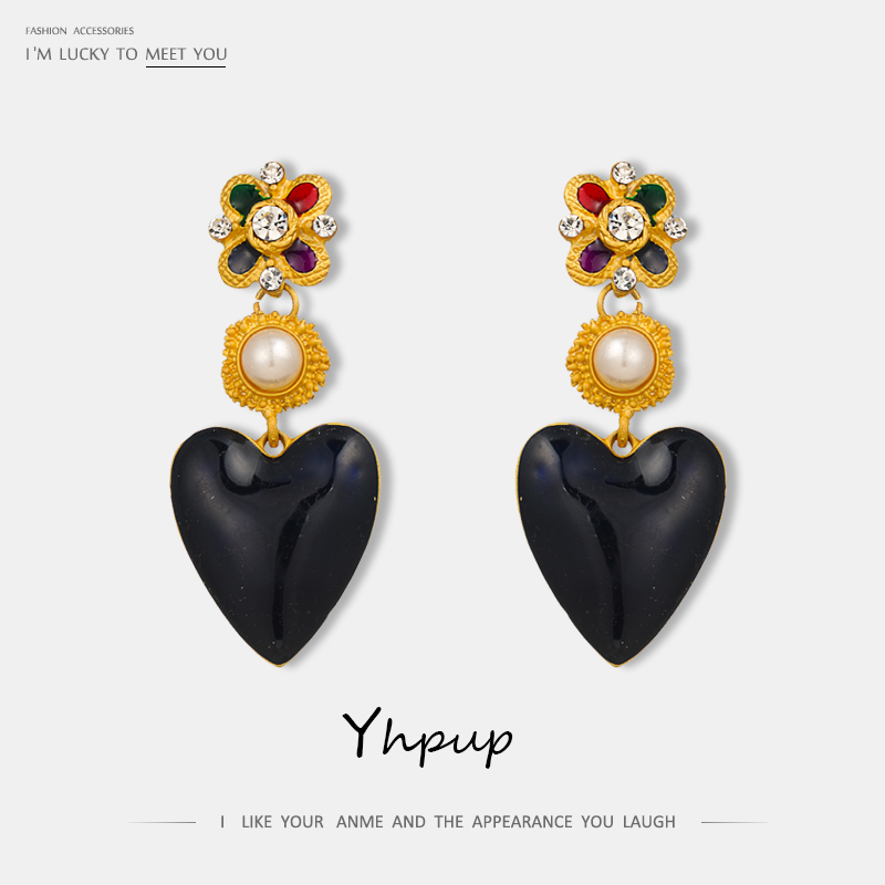 Yhpup Fashion Heart Geometric Imitation Pearls Dangle Enamel Rhinestone Exquisite Temperament Jewelry For Women Wedding Gift New