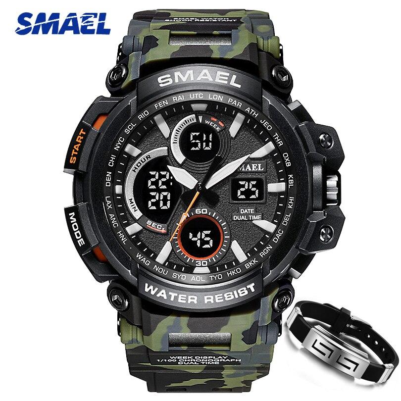 Camouflage ArmyGreen Hommes Militaire Montre SMAEL Marque LED Numérique Analogique Bracelet À Quartz montres Hommes de S Choc Sport Montres