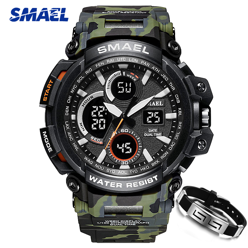 Camouflage ArmyGreen montre militaire pour homme SMAEL Marque led Numérique Analogique S Choc de montres-bracelets à quartz Hommes montres de sport