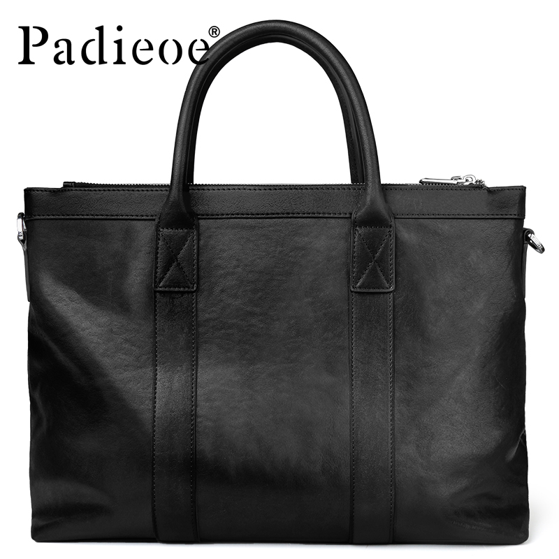 Padieoe Luxury Real Leather Portfolio Briefcase Genuine Cowhide Leather Business Man Briefcase Large Capacity Men's Casual Tote