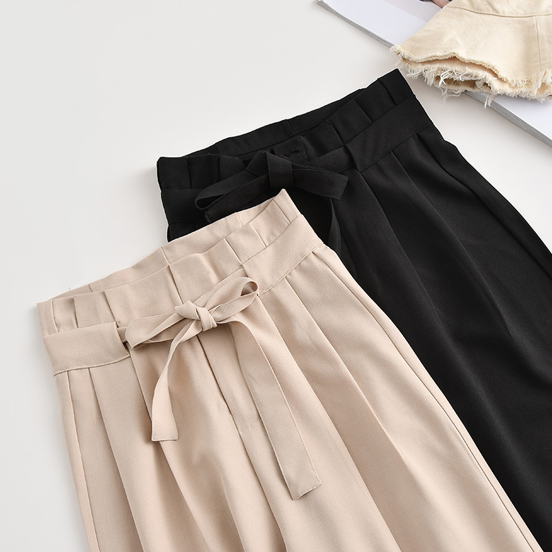Fashion High Waist Chiffon   Pants   2019 New Summer Vintage Loose Solid Color Ankle-Length   Wide     Leg     Pants