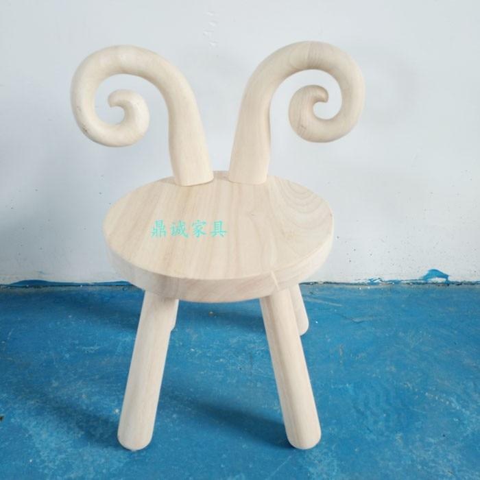 Animaux nordiques aucune chaise de bébé de peinture, chaise de bande dessinée de jardin d'enfants, conception de chaise d'enfants en bois en caoutchouc de chaise de salle à manger d'enfants