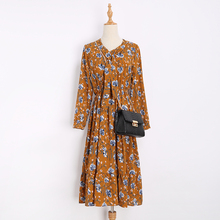 Print floral Vintage dresses Long sleeves 2017 autumn fashion new style spring retro dress Vestidos robe womens clothing