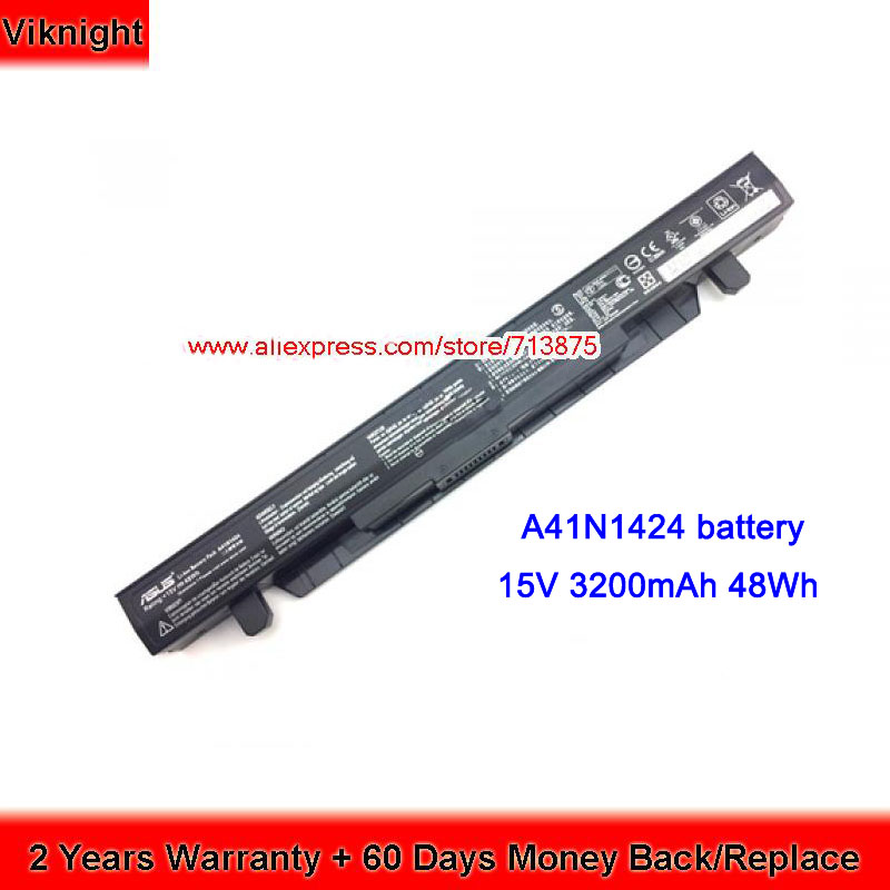 Genuine 15V 48Wh GL552 A41N1424 Battery for Asus A41N1424 Battery FX-Plus ZX50 ZX50JX ZX50V ZX50VW free shipping new 11 4v 48wh genuine b31n1407 battery for asus b451 b451ja b451ja 1a series laptop