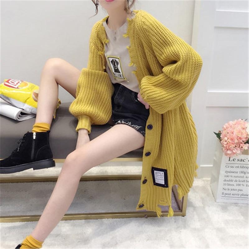 Long Cardigan Female 2018 Autumn Winter Long Sleeve Solid Hole Cardigan Women Sweater Pockets Women Knitted Jacket Tops A1665