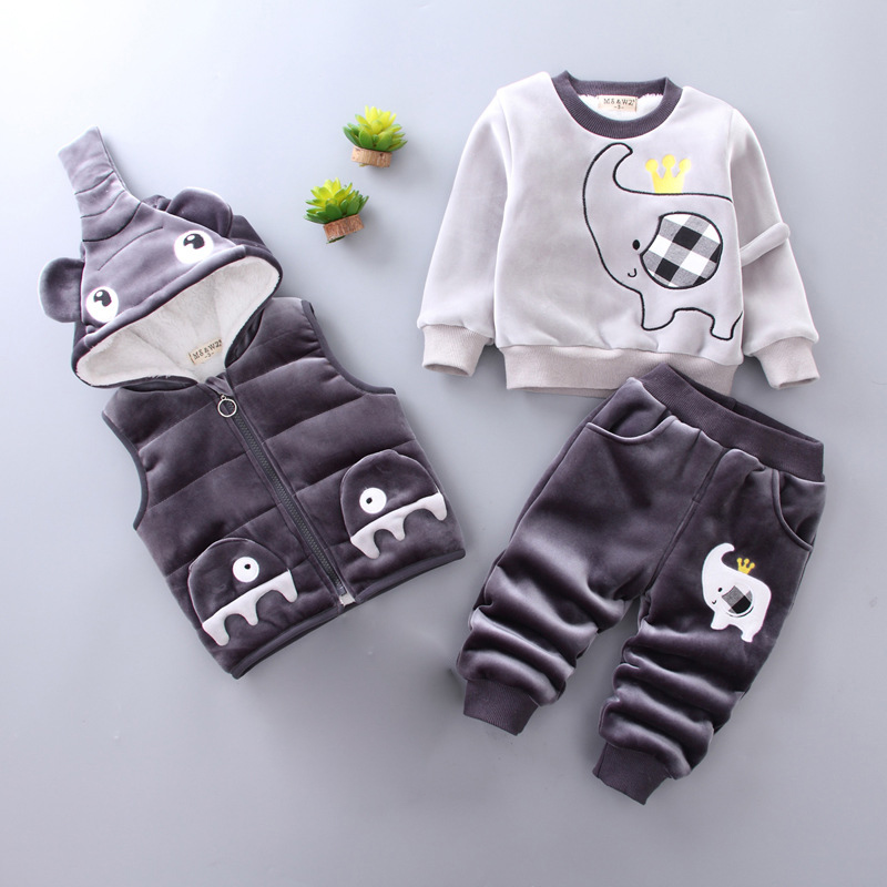 Velvet Thick Winter Children Clothing Sets Kids Boys Girls Clothes Set Warm Hoodies Outwear Coat Down Parkas Autumn Warm Costume