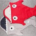 Tubarão dos desenhos animados Do Bebê Saco de Dormir Swaddle Envoltório Cobertor da Cama Linda Roupa de Cama Infantil Saco de Dormir Recém-nascidos Carrinhos de Inverno Quente