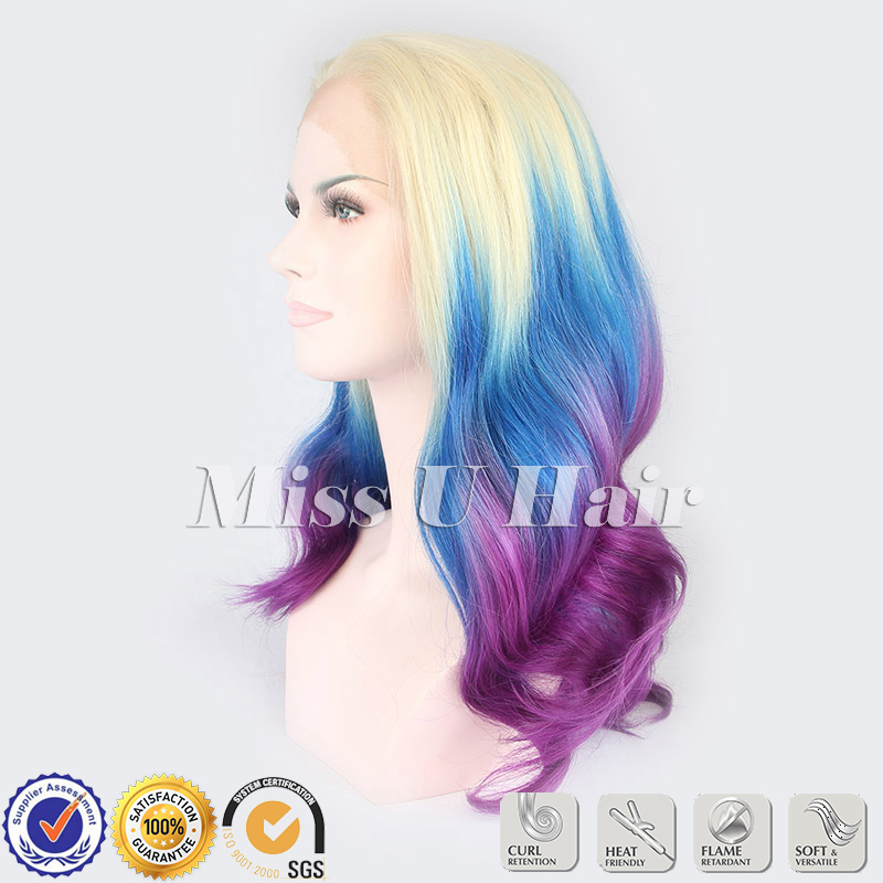 Ombre Hairstyle Blonde Purple Blue Ombre Hair Synthetic Lace Front
