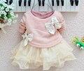 2016 Venta Superior Del Bebé Niñas Vestido de Primavera Otoño de Punto Tops de Encaje Bowknot Vestidos de Princesa Muchachas de Los Niños Vestidos de Ropa