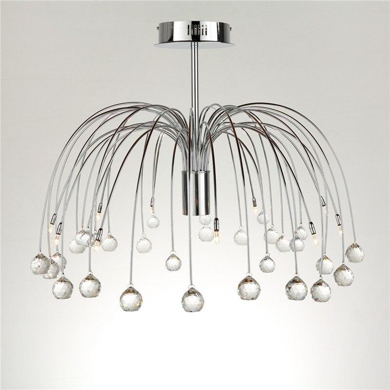 Moderne Luxus Kristall 10 Lichter Trommel Feuerwerk Form Deckenleuchte Beleuchtung Für Schlafzimmer Wohnzimmer G4 Birne CL139 - 2