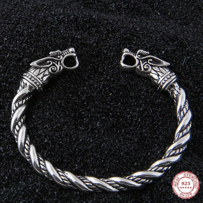 Takı ve Aksesuarları'ten Bilezikler'de Yage DropShipping 925 Ayar Gümüş rune Ejderha/Kurt viking bileklik ayarlanabilir'da  Grup 1