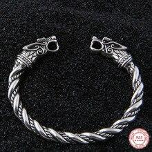 Yage DropShipping 925 Ayar Gümüş rune Ejderha/Kurt viking bileklik ayarlanabilir