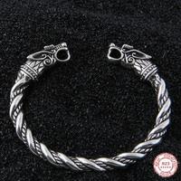 Yage DropShipping 925 Sterling Silver rune Dragon/Wolf viking bangle adjustable