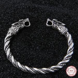 Image 1 - Yage DropShipping 925 Sterling Silver rune Dragon/Wolf viking bangle adjustable