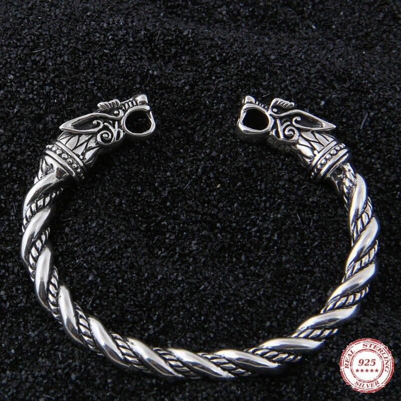 Yage livraison directe 925 bracelet en argent Sterling rune Dragon/loup viking réglable