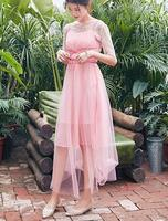 Free Shipping High Quality 2018 New Arrival Sweet Two Pieces Half Sleeve Woman Irregular Lace Gauze Long Dress Pink