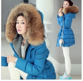 winter new blue long down jacket women large raccoon fur collar thick warm hooded jacket Slim H120 maison jules new blue women large l umbrella printed surplice jumpsuit $79 059