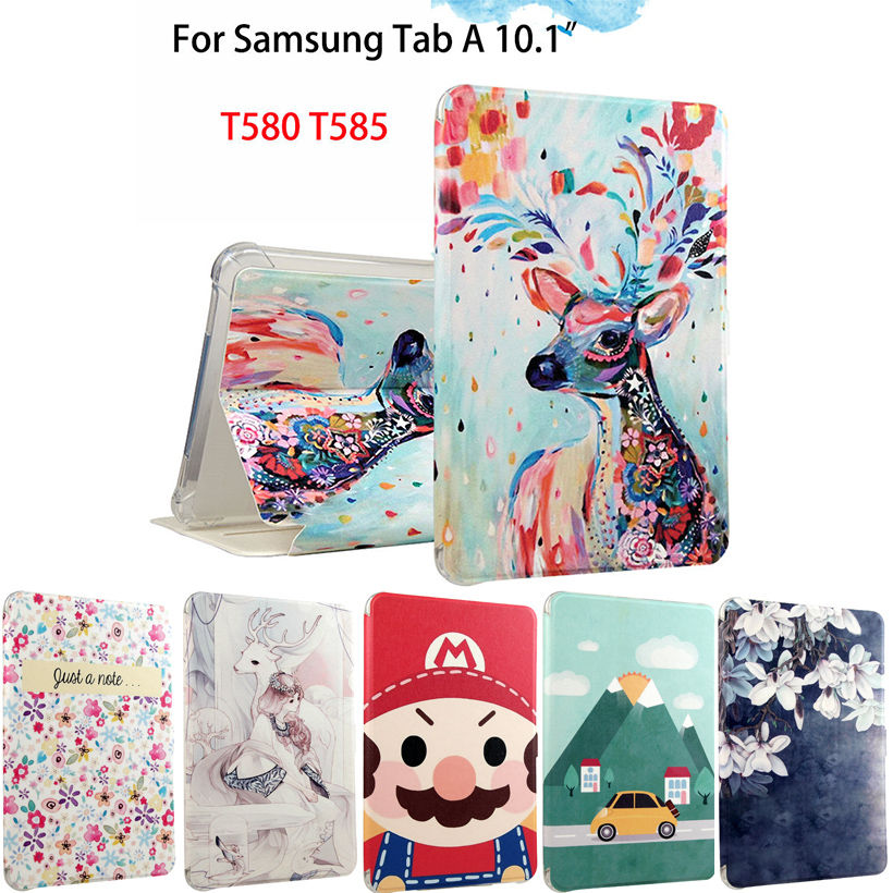 Fashion PU Leather Flip Case For Samsung Galaxy Tab A A6 10.1 2016 T580 T585 SM-T580 Smart Case Cover Funda Tablet Sleep/Wake up magnetic wood pattern stand smart pu leather cover for samsung galaxy tab a a6 t580 t585 10 1 tablet funda case free film pen