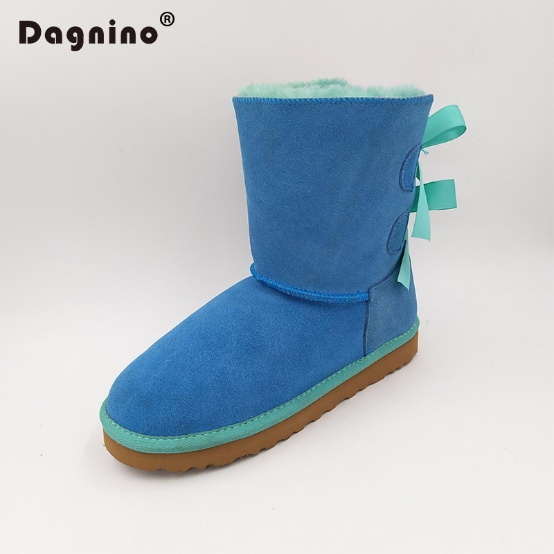DAGNINO HOT Lady Brand Australia Short Botas High Quality Ug Style Women Winter Warm Genuine Leather Bow Snow Boots Plus Size 44