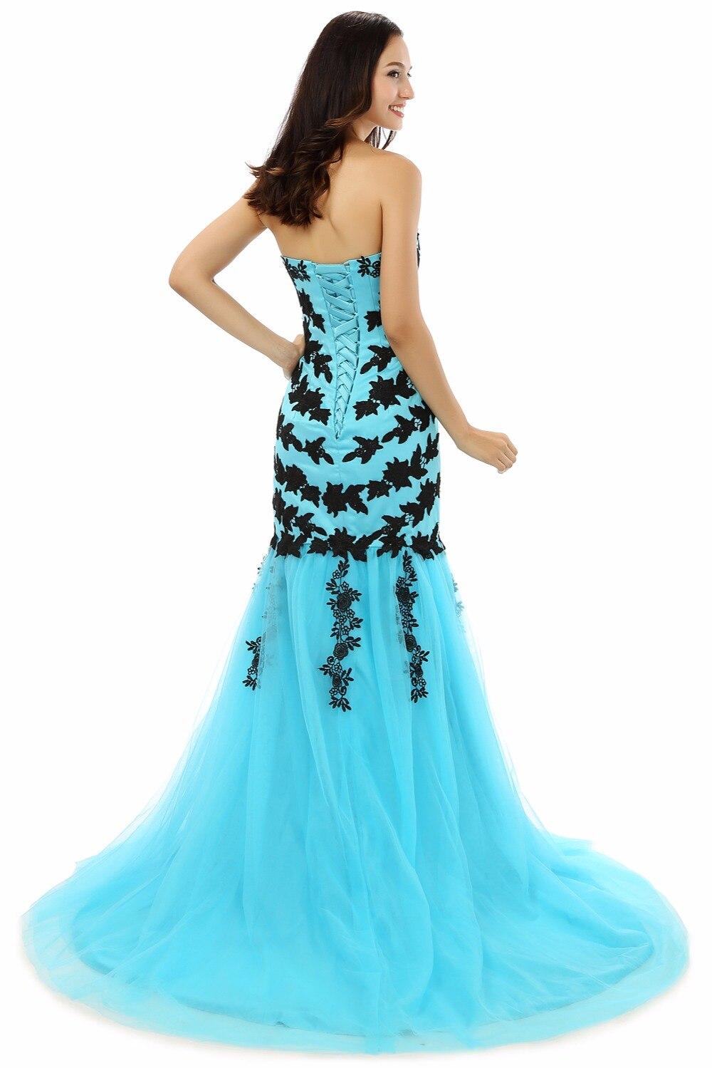 H&S BRIDAL Tulle Mermaid Evening Prom Dresses Long Black Lace ...
