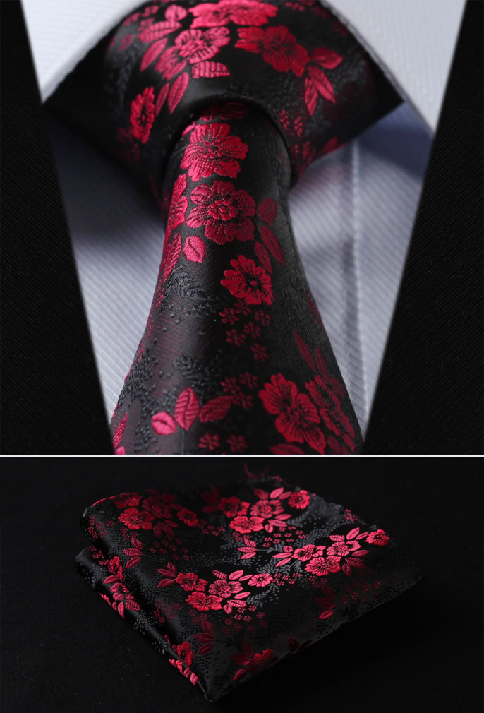 "TF2005R18 Red Black Floral 3.4"" 100%Silk Wedding Jacquard Woven Men Tie Necktie Pocket Square Handkerchief Set Suit"