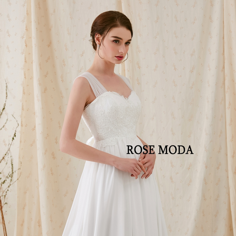 Rose Moda Cap Sleeves Chiffon Boho Wedding Dress with Bow Lace ...